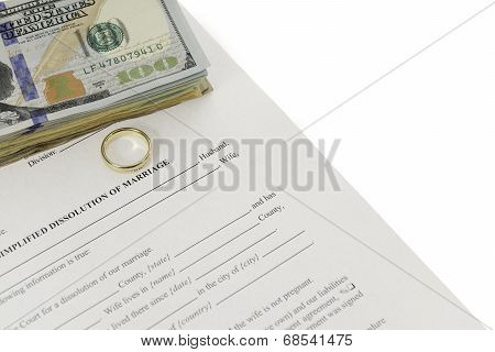 Divorce Form With Stack Of Hundred Dollars Bill
