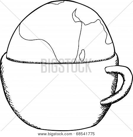 Outlined Mug With Globe