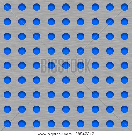 Brushed Metal Tile Background With Blue Grill Holes