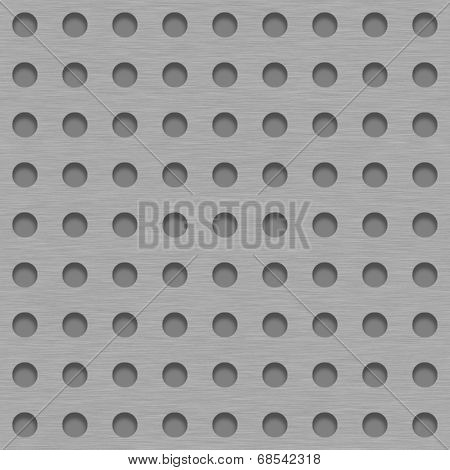 Brushed Metal Tile Background With Gray Grill Holes