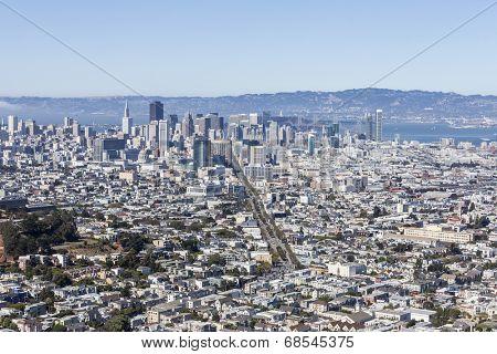 San Francisco cityscape view taken from Twin Peaks.