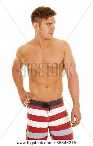 Man Red White Stripe Shorts Look To Side