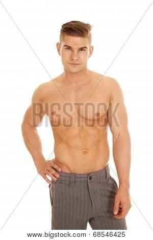 Man Slacks No Shirt Looking