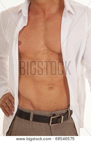 Man White Dress Shirt Unbuttoned Chest