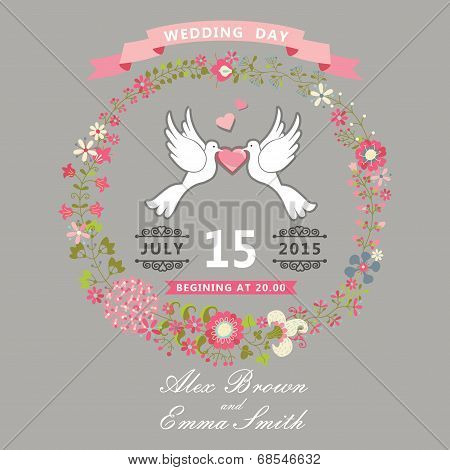 Cute Wedding Invitation With Pigeons And Floral Wreath