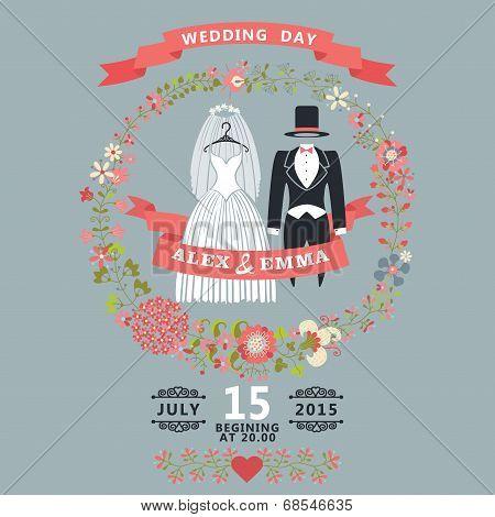 Cute Wedding Invitation With Retro Wedding Wear, Floral Wreath