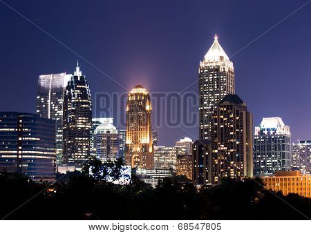 Atlanta downtown at dusk