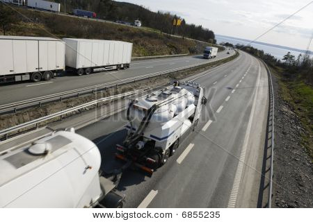 trucks on busy highway