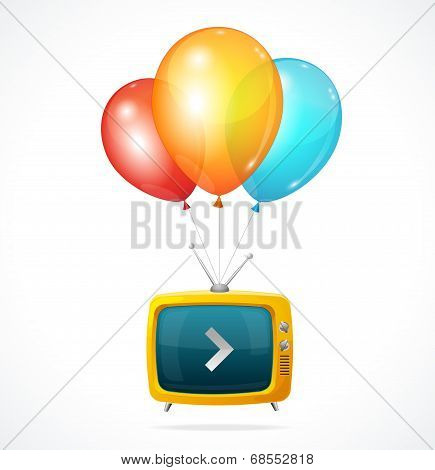 Vector fly Tv and ballons