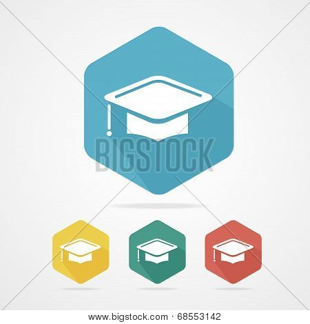 Education Cup flat icon. Graduation Cap.