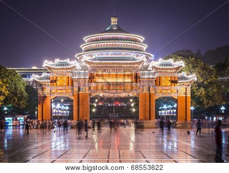 Chongqing, China at Great Hall of the People and People's Square.
