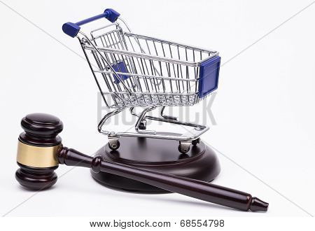 Justice Gavel with Shopping Cart