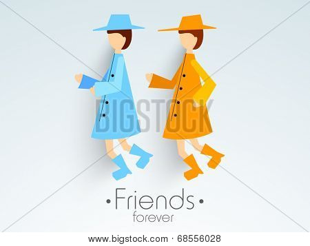 Cute girls in overcoat with stylish text Friends Forever on blue background for Happy Friendship Day celebrations.
