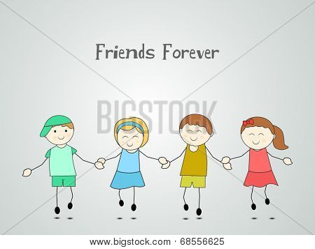 Happy Friendship Day celebrations concept with cute little children joining hands together on grey background.