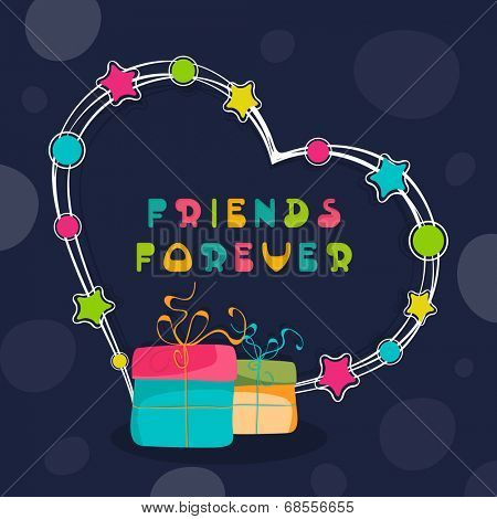 Happy Friendship Day celebrations concept with colorful gift boxes and heart shape on blue background.