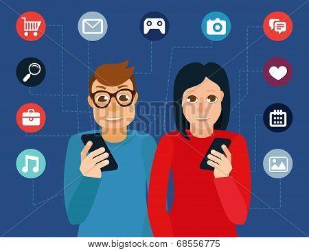 Vector Social Media Addiction Concept