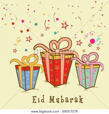 Beautiful Eid Mubarak celebrations greeting card design with colorful gift boxes on stars decorated beige background.