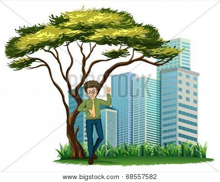 Illustration of a man standing under the tree across the offices on a white background