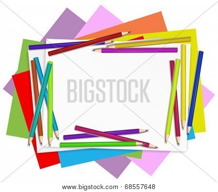 Illustration of the empty papers with colourful pencils on a white background