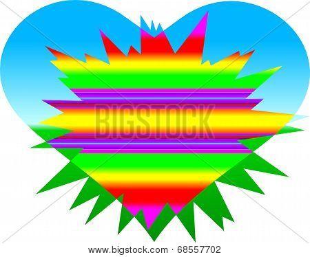 Radiant Blue Gradient  Heart A-0053