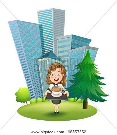 Illustration of a woman outside the building holding a tray with coffee on a white background