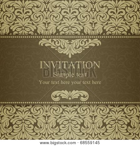 Baroque invitation, dull gold
