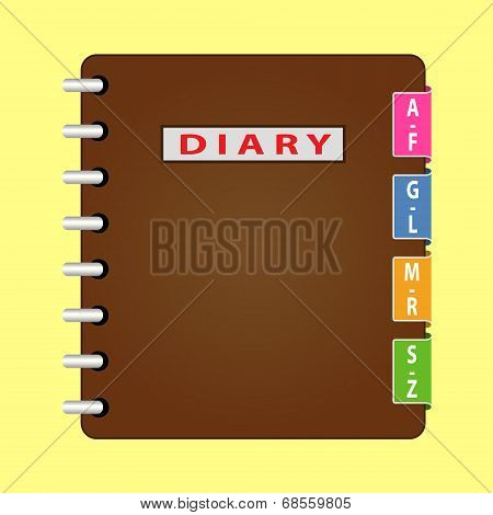 Personal organizer. Diary with brown cover. Vector
