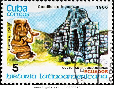 Postage Stamp Shows Example Tolita Culture
