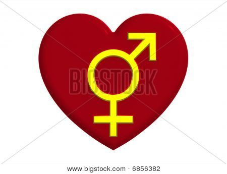 Male And Female Sex Symbols With Heart