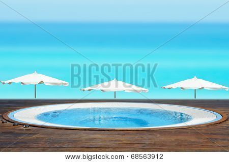 Jacuzzi Tub Facing A Beach
