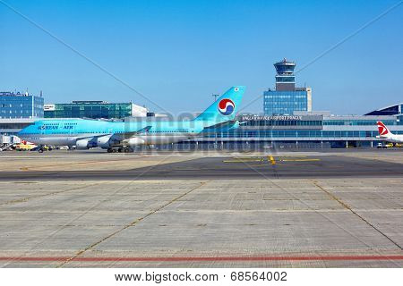 PRAGUE - SEPTEMBER 6: Korean Air Boeing 747 goes to the parking stand in Vaclav Havel Prague Airport on September 6, 2013. Korean Air is a private national airline, the largest in South Korea.