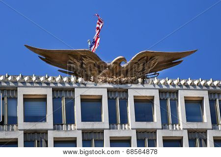 LONDON, UK - JUNE 3, 2014: Mayfair, USA embassy. Eagle the state symbol