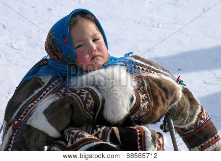 Nadym, Russia - March 18, 2006: The National Holiday, The Day Of The Reindeer Herder.