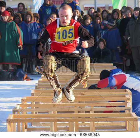 Nadym, Russia - March 2, 2007: The National Holiday - The Day Of The Reindeer Herder.