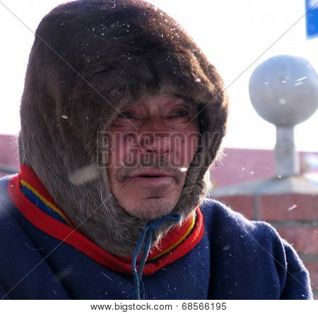 Nadym, Russia - March 11, 2005: Unknown Man Nenets Close-up, Portrait.