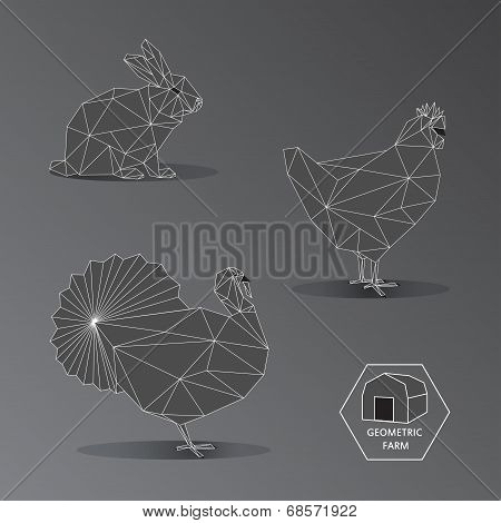 Gray Scale Geometric Illustration Of Small Farm Animals - Triangle Polygons Outline