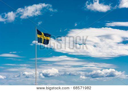 Swedish Flag On Sky Background