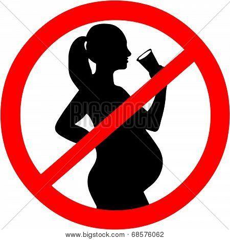 Pregnant Woman Alcohol Symbol