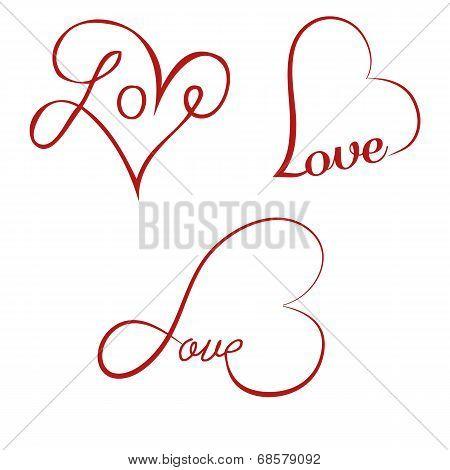 Love Calligraphy Hearts