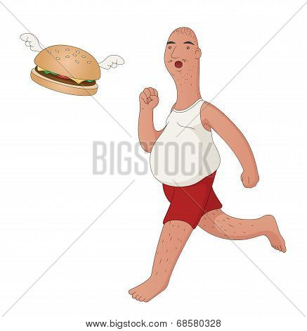Fat Man Chasing Flying Burger