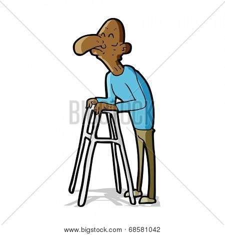 cartoon old man with walking frame