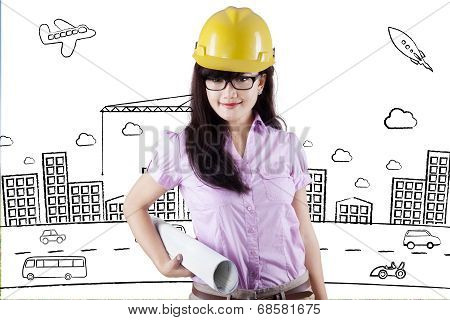 Pretty Engineer With Project Design