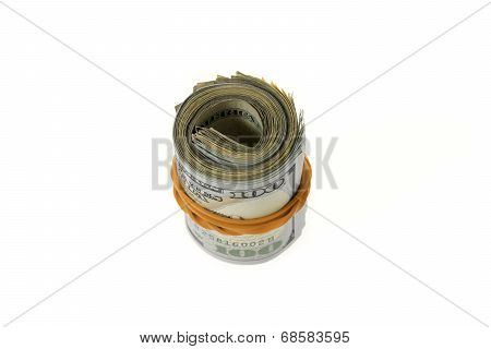 Standing Roll Of Hundred Dollars Bills