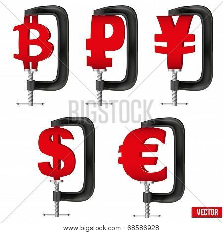 Set of Currency symbols being squeezed in a vice