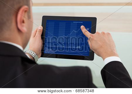 Businessman Checking The Stock Market On Digital Tablet