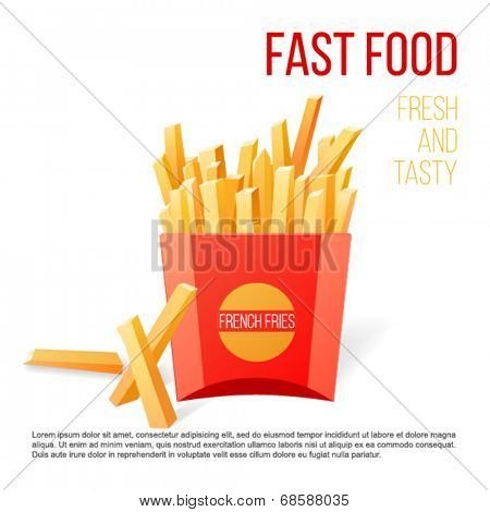 French fries over white background