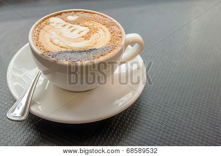 Hot Mocca Coffee With Latte Art In Swan Shape
