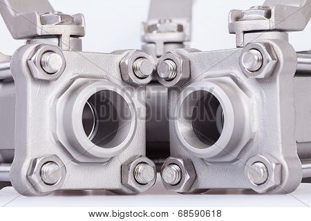 Three ball valve on white background