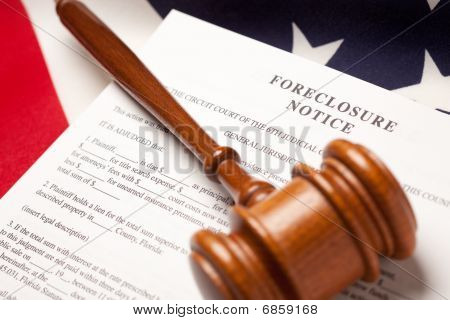 Gavel, American Flag And Foreclosure Notice