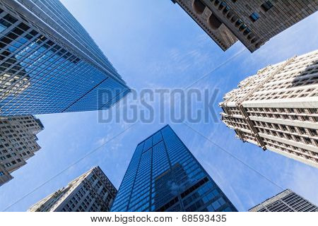 look up to the sky with skyscrapers